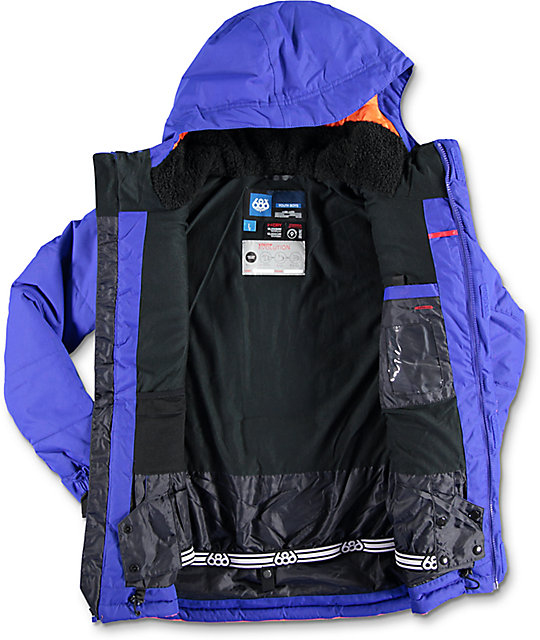 686 Boys Onyx Cobalt, Grey & Orange 10K Snowboard Jacket
