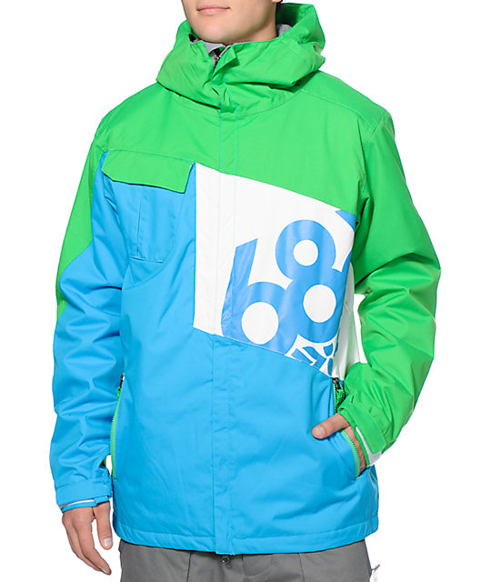 686 Mannual Iconic 8k Blue, Green & White Snowboard Jacket