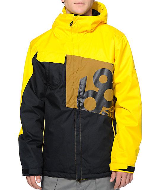 686 Mannual Iconic 8k Yellow, Black & Brown Snowboard Jacket