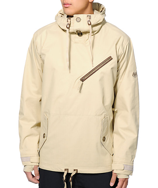 686 Reserved Getty Khaki 10K Pullover Snowboard Jacket | Zumiez