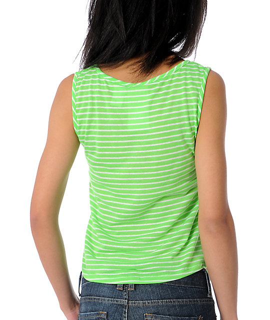 A Fine Mess Cali Bound Neon Green Tank Top