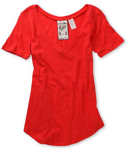 A Fine Mess Confetti Red V-Neck T-Shirt