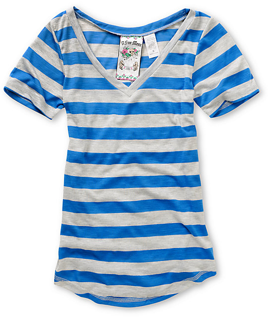 A Fine Mess Daydreamer Blue Neon Stripe T-Shirt