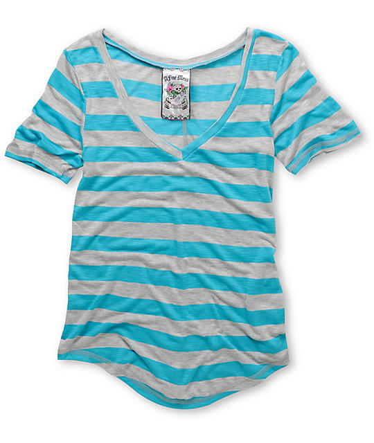 A Fine Mess Daydreamer Blue Neon Stripe V-Neck T-Shirt