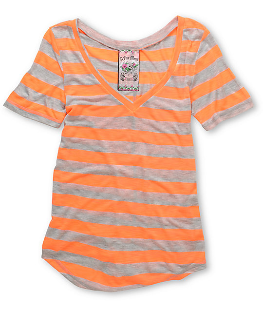 A Fine Mess Daydreamer Orange Neon Stripe V-Neck T-Shirt