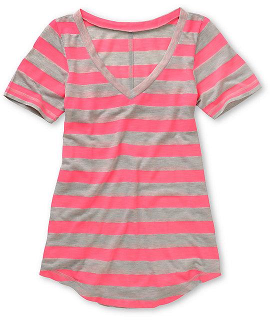 A Fine Mess Daydreamer Pink Neon Stripe T-Shirt