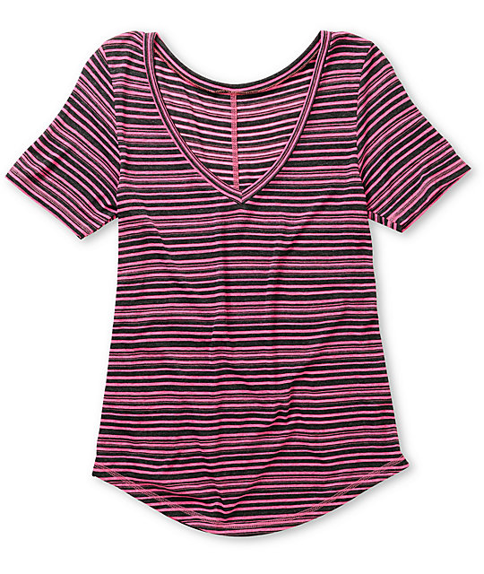A Fine Mess Fantom Pink Stripe V-Neck T-Shirt