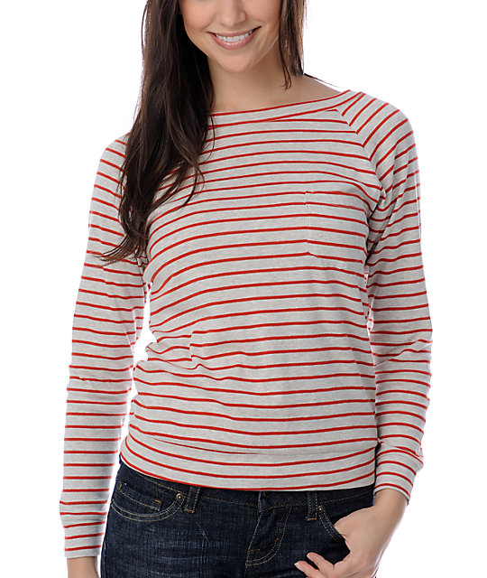 A Fine Mess I Love Stripes Long Sleeve Red & White Top