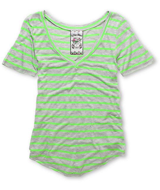 A Fine Mess Meringue Green Neon Stripe V-Neck T-Shirt