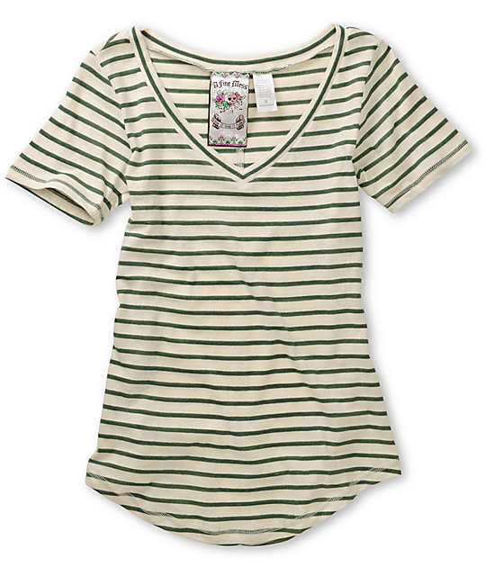 A Fine Mess November Forest Green & Cream Striped V-Neck T-Shirt