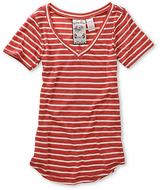A Fine Mess November Red & Cream Striped V-Neck T-Shirt