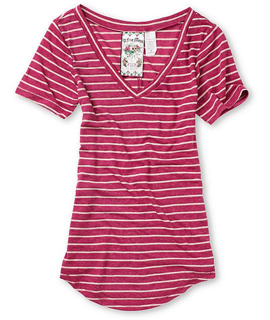 A Fine Mess Small Stripe Magenta & Cream T-Shirt