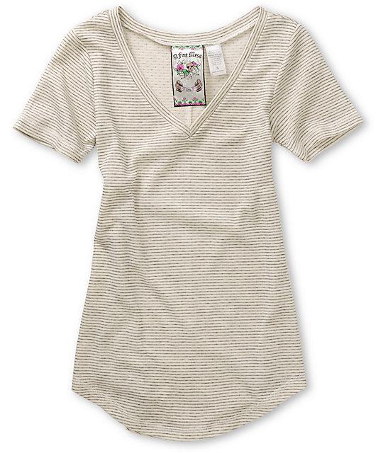 A Fine Mess White Stripe & Polka Dot V-Neck T-Shirt