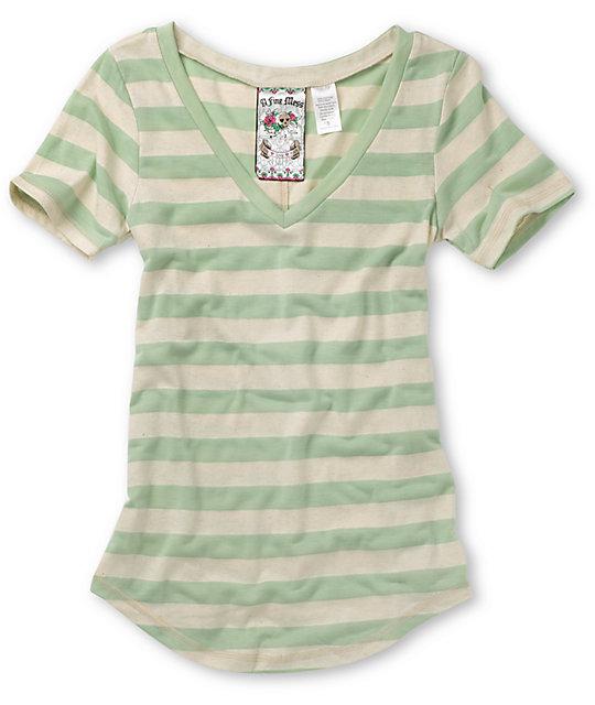 A Fine Mess Wide Stripe Mint & Cream T-Shirt
