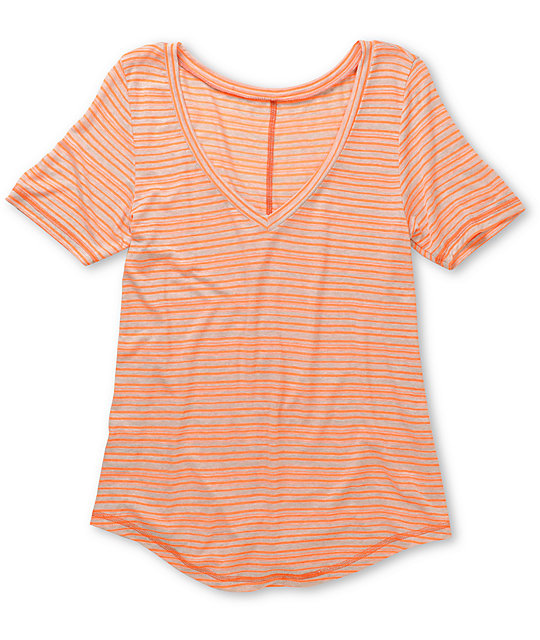A Fine Mess Window Neon Orange Stripe V-Neck T-Shirt