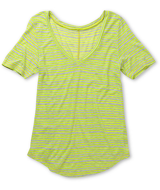 A Fine Mess Window Neon Yelllow Stripe V-Neck T-Shirt