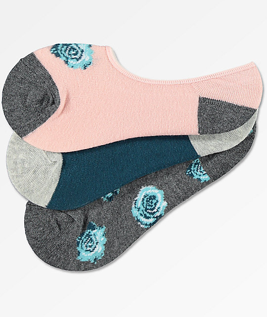 A-Lab 3 Pack Janelle Charcoal Floral No Show Socks