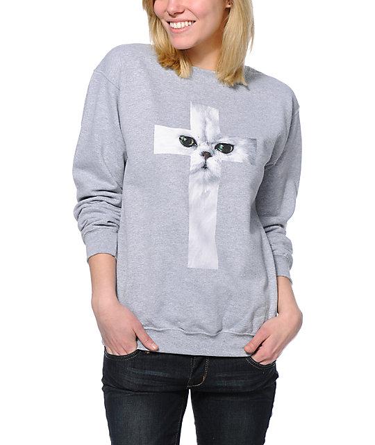 A-Lab Cat Cross Heather Grey Crew Neck Sweatshirt