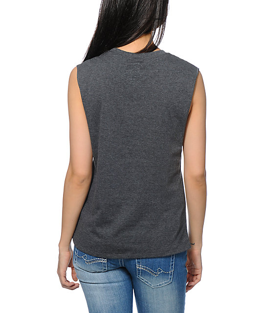 A-Lab Corinne Cat Pocket Charcoal Muscle Tank Top