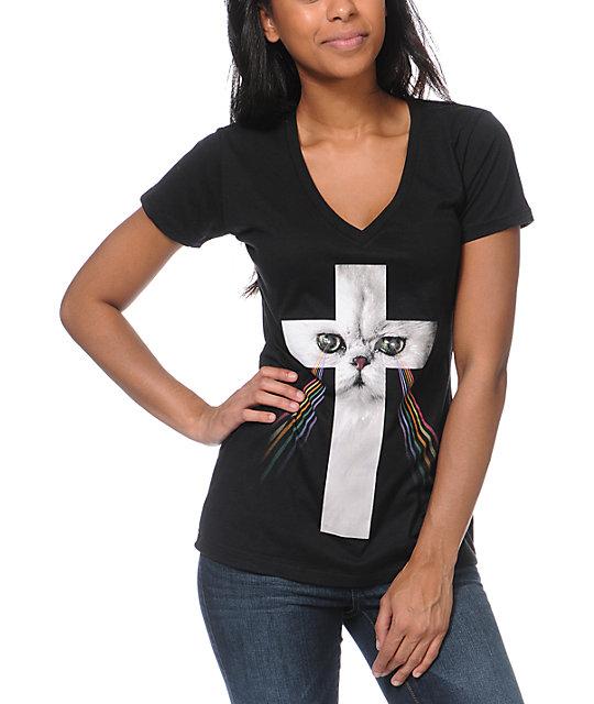 A-Lab Cross Cat Black V-Neck T-Shirt