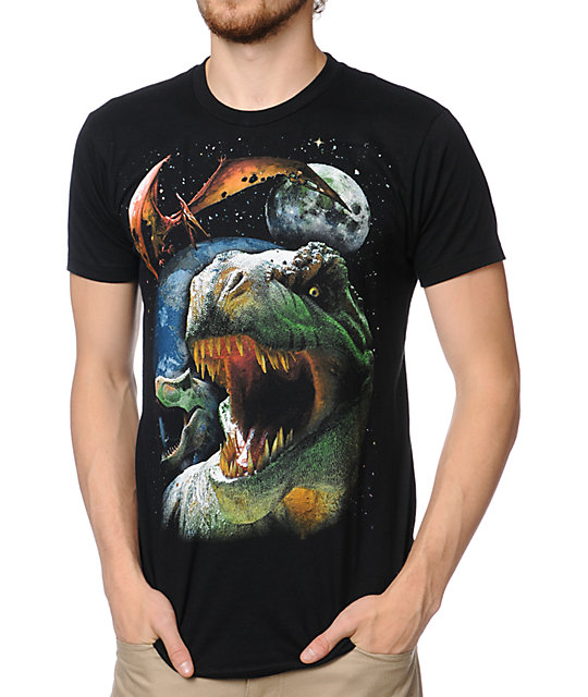 A-Lab Dinos In Space Black T-Shirt