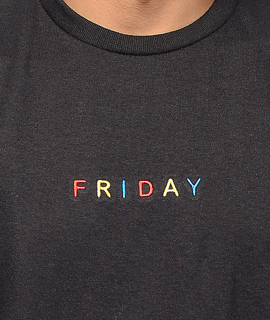 A-Lab Friday Embroidery Black T-Shirt