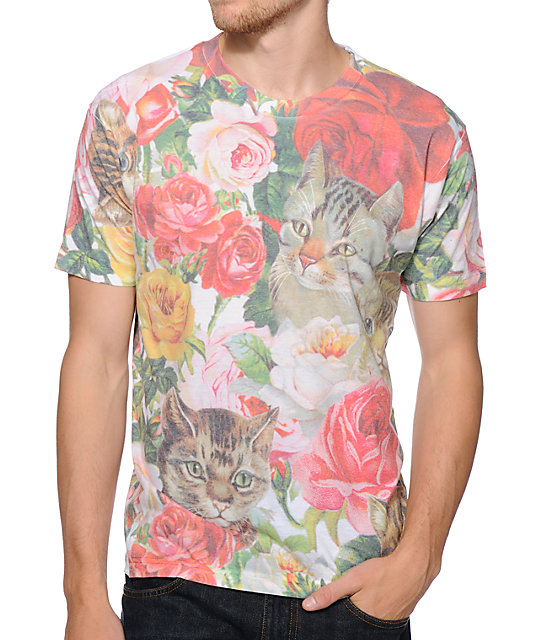 A-Lab Garden Cats Sublimated White T-Shirt