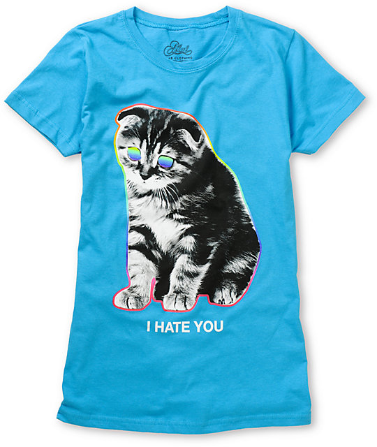 A-Lab I Hate You Kitty Blue T-Shirt
