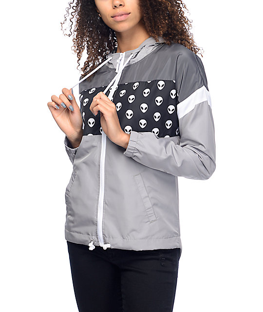 A-Lab Kadee Alien Lined Black & Grey Windbreaker Jacket