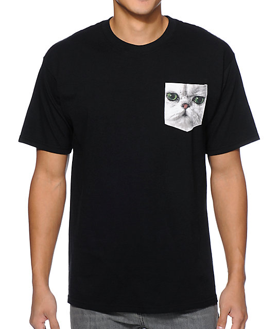 A-Lab Meow What Black Pocket T-Shirt