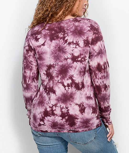A-Lab Rubino Blackberry & Pink Tie Dye Long Sleeve T-Shirt