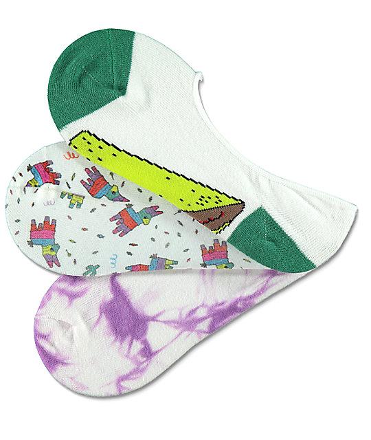 A-Lab Taco Pinata 3 Pack No Show Socks