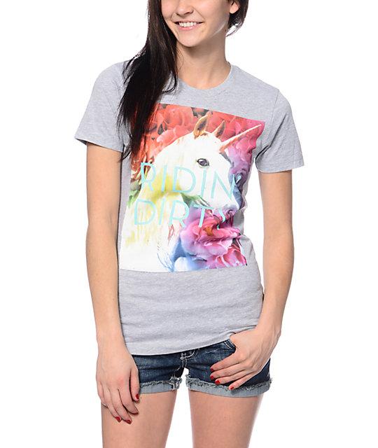 A-Lab Unicorn Floral Grey T-Shirt