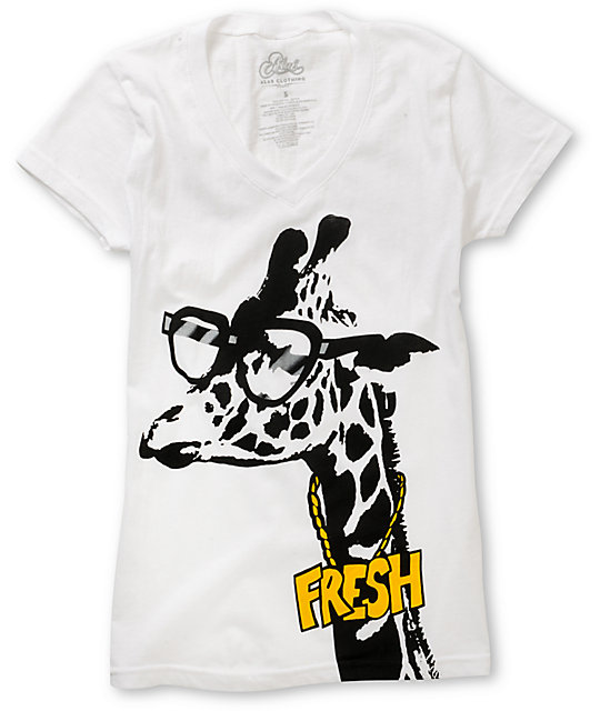 A-lab Giraffe Fresh White V-Neck T-Shirt