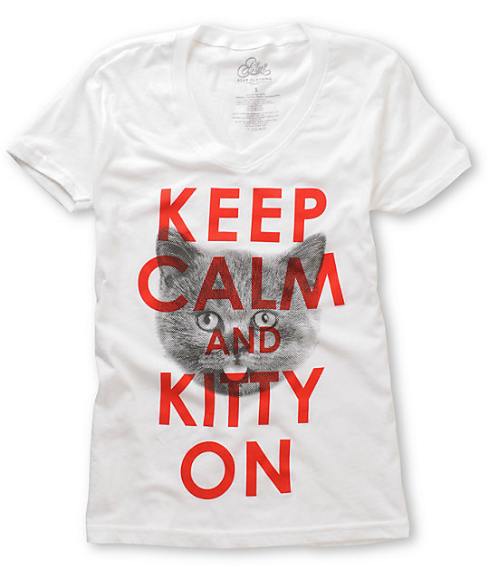 A-lab Kitty On White V-Neck T-Shirt