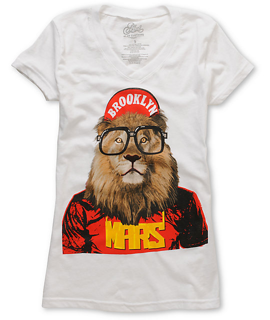 A-lab Mars Lion White V-Neck T-Shirt