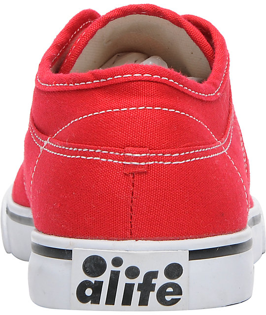 ALIFE Everybody Low Red Canvas Shoes