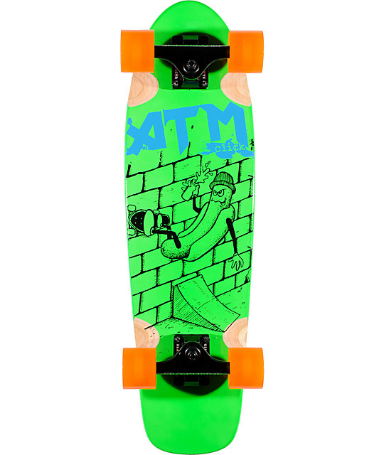 "ATM Hot Dog Green 27""  Complete Cruiser Skateboard"