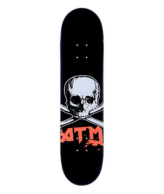 """ATM Skull 7.625""""  Red Skateboard Deck"""