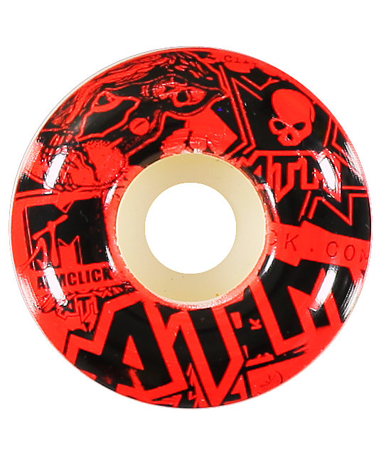 ATM Stickers 52MM Red Skateboard Wheels