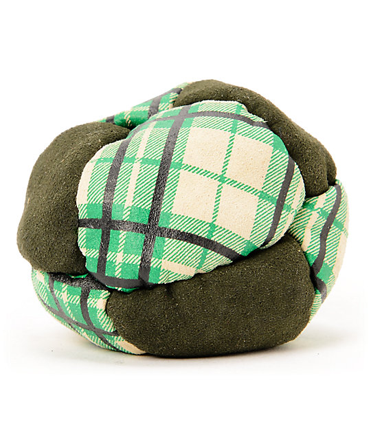 Adventure Imports Eight Panel Green Plaid Footbag