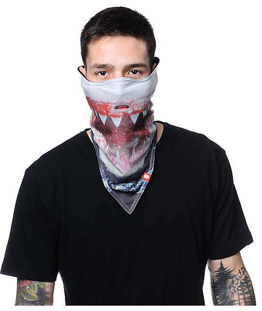 Airhole Shark Black Face Mask Bandana