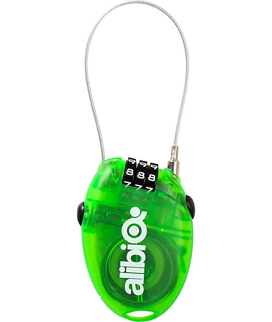 Alibi Snowboards Green Small Cable Lock