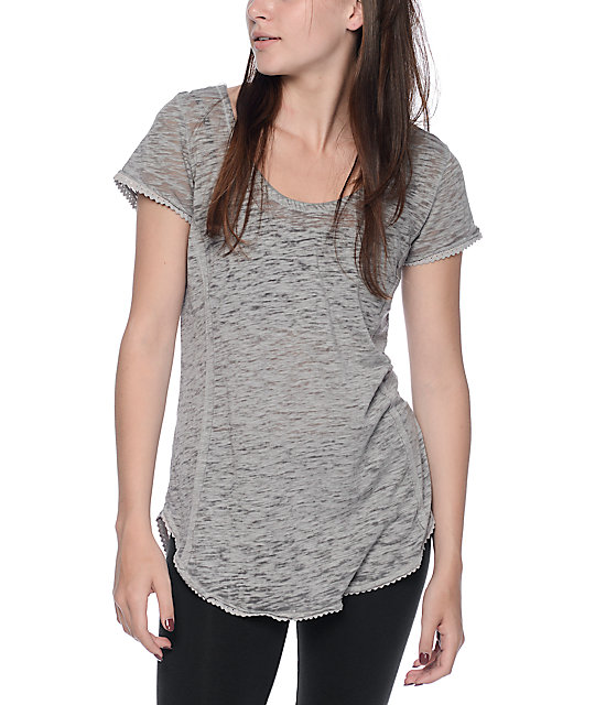 Almost Famous Abby Grey Lattice Back Top