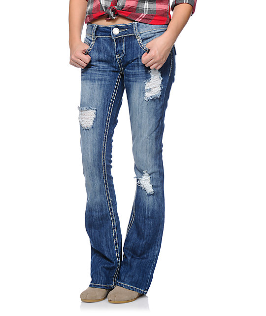 Famous Adela Medium Wash Destroyed Bootcut Jeans