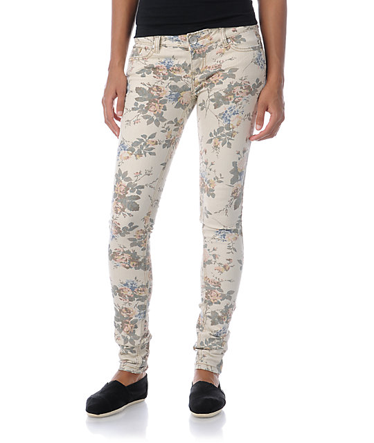 Almost Famous Adrienne Floral Skinny Jeans