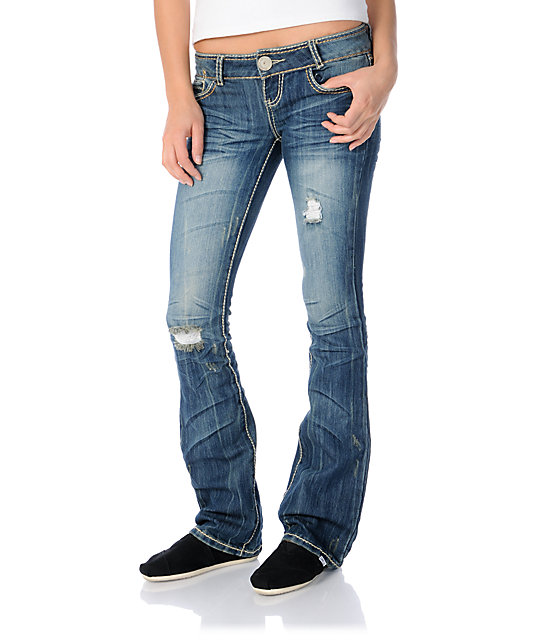 Almost Famous Allyson Dark Blue Bootcut Jeans