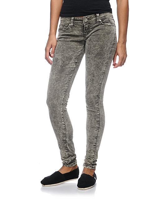 Almost Famous Andrea Grey Acid Wash Skinny Corduroy Pants
