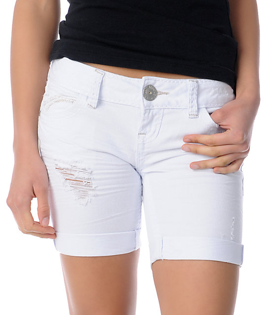 Almost Famous Avery White Denim Bermuda Shorts