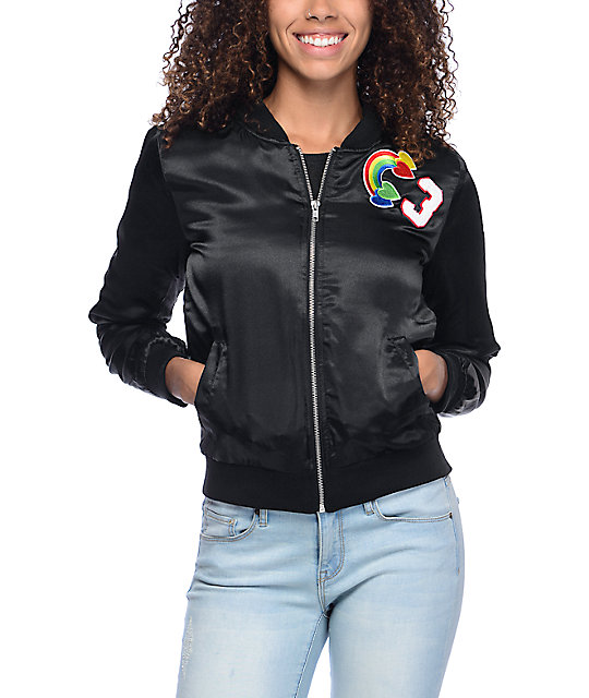 Almost Famous Black Satin Multi Patch Bomber Jacket